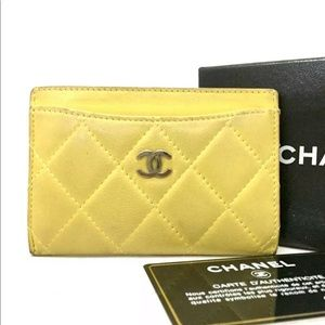 Chanel Lambskin Matelasse Leather Card Holder Case